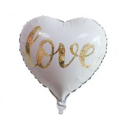 """18"""" White Heart with Gold 'love' Foil Balloon"""