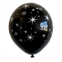 "11"" Round Printed Stars on Black Latex Balloon (with helium)"