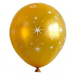 """11"""" Round Printed Stars on Gold Latex Balloon (with helium)"""