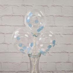 """5"""" Confetti Balloon Blue & White (set of 3)"""
