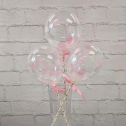 """5"""" Confetti Balloon Pink & White  (set of 3)"""