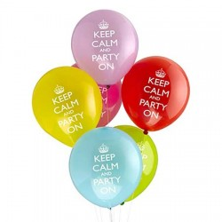 Keep Calm and Party On Latex Balloon Bouquet of 6 (with weight)