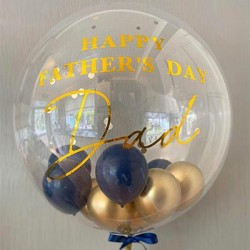 Personalized Father's Day Stuffing Bubble Balloon (Blue+Gold)