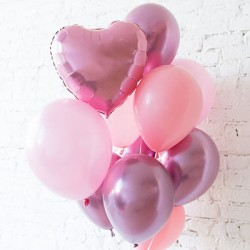 Pink Heart & Rosy Balloon Bouquet (with weight)