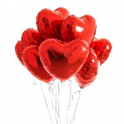 Red Heart Foil Balloon Bouquet (with weight)