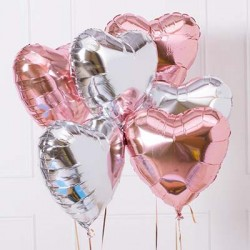 Rose Gold & Silver Heart Balloon Bouquet (with weight)