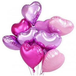 Pink & Lilac Heart Balloon Bouquet (with weight)