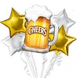 Beer Mug Cheers Foil Balloon Bouquet (with weight)