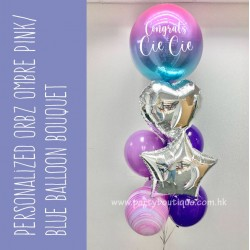 Personalized Orbz Ombre Purple/Blue & Silver Balloon Bouquet (with weight)