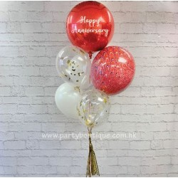 Personalized Orbz Foil Balloon Bouquets (Red+White)