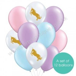 Latex Balloon Bouquet of 12 - Unicorn (with weight)
