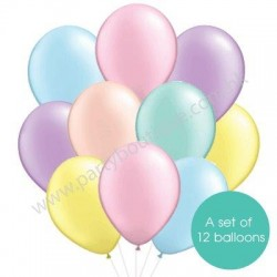 Latex Balloon Bouquet of 12 - Style 03 (with weight)