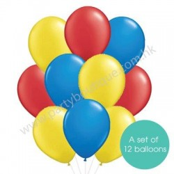 Latex Balloon Bouquet of 12 - Style 05 (with weight)