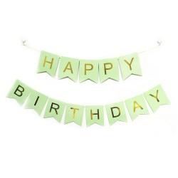 Bunting - Mint Green & Gold Happy Birthday Fish Tail