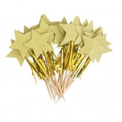 Cupcake Topper - Gold Star With Tassel, 12pcs