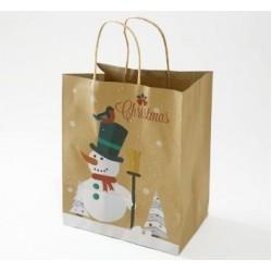 Paper Gift Bag - Christmas Snowman, 10pcs
