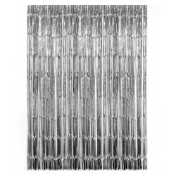 Tassel Curtain Backdrop - Silver