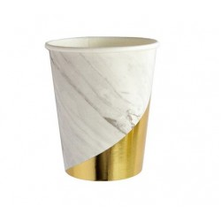 White Gold 9oz Paper Cup, 8pcs