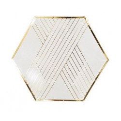 White Gold 9in Paper Plate, 8pcs