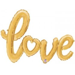 "'Love' Gold Script Foil Balloon - 47"" W"