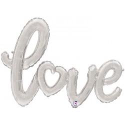 "'Love' Silver Script Foil Balloon - 47"" W"