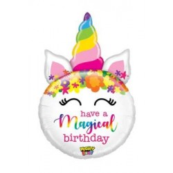"Mighty Birthday Unicorn Non-Foil Balloon - 33"" H"
