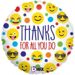 """Emoji """"Thanks For All You Do"""" 18"""" Foil Balloon"""