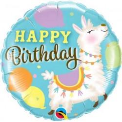 """Birthday Llama 18"""" Foil Balloon"""