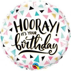 """Birthday """"Hooray!"""" 18"""" Foil Balloon"""