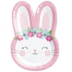 "Birthday Bunny 9"" Shape Paper Plate, 8pcs"