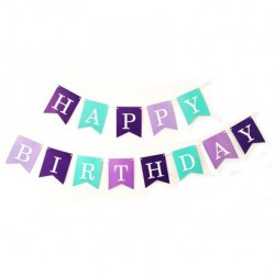 Bunting - Purple & Blue Happy Birthday Fish Tail