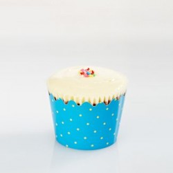 Cupcake Wrapper - Blue with Green Dots, 12pcs