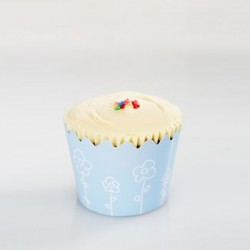 Cupcake Wrapper - Baby Blue with White Flowers, 12pcs