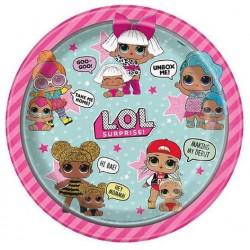 """LOL Surprise 9"""" Pink Paper Plate, 8pcs"""