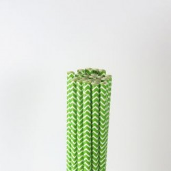 Paper Straw - Apple Green Chevron, 25pcs