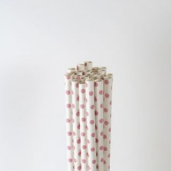 Paper Straw - Baby Pink Polka Dots, 25pcs