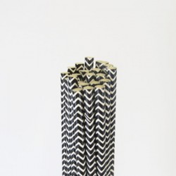 Paper Straw - Black Chevron, 25pcs