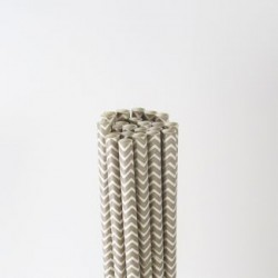 Paper Straw - Grey Chevron, 25pcs