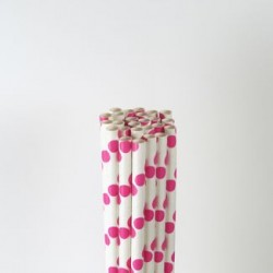 Paper Straw - Hot Pink Big Polka Dots, 25pcs
