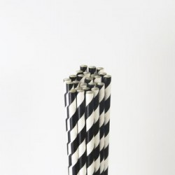 Paper Straw - Black Stripes, 25pcs