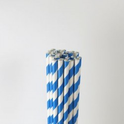 Paper Straw - Blue Stripes, 25pcs