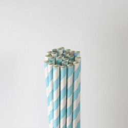 Paper Straw - Light Blue Stripes, 25pcs
