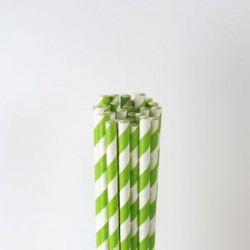 Paper Straw - Lime Green Stripes, 25pcs