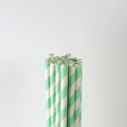 Paper Straw - Mint Green Stripes, 25pcs