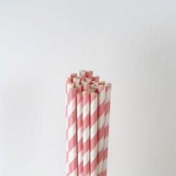 Paper Straw - Pink Stripes, 25pcs