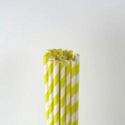 Paper Straw - Yellow Stripes, 25pcs