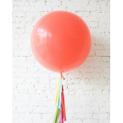 """36"""" Round Coral Latex Balloon (with tassels & weights)"""
