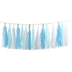 Tassel Garland - White Blue
