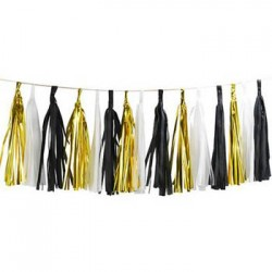 Tassel Garland - Gold Black White