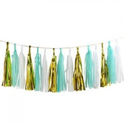 Tassel Garland - Gold Mint White